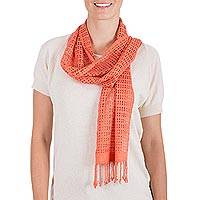 Rayon scarf, 'Canteloupe Bliss' - Hand Woven Canteloupe Rayon Wrap Scarf from Guatemala