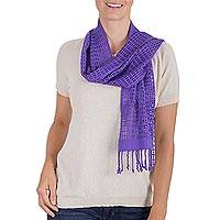 Rayon scarf, 'Violet Bliss' - Hand Woven Violet Rayon Wrap Scarf from Guatemala