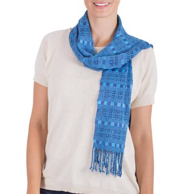Rayon scarf, 'Sky Weave' - Hand Woven Blue Rayon Wrap Scarf from Guatemala