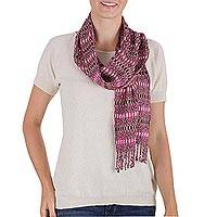 Rayon scarf, 'Ruby Weave' - Hand Woven Red Rayon Wrap Scarf from Guatemala