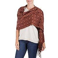 Rayon shawl, 'Chestnut Weave' - Hand Woven Brown Striped Rayon Shawl from Guatemala