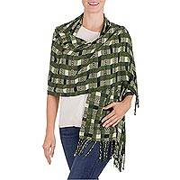Rayon shawl, 'Green Weave' - Hand Woven Green Striped Rayon Shawl from Guatemala