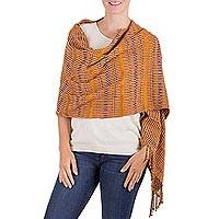Rayon shawl, 'Exotic Paradise' - Hand Woven Striped Rayon Shawl from Guatemala