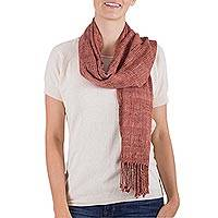 Rayon scarf, 'Warm Memory' - Hand Woven Russet Rayon Scarf from Guatemala