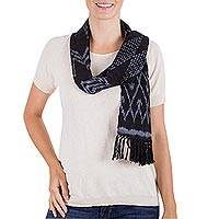 Rayon scarf, 'Grey Diamonds' - Hand Woven Black and Grey Rayon Wrap Scarf