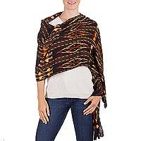 Rayon shawl, 'Exotic Woods' - Hand Woven Multicolor Rayon Shawl from Guatemala