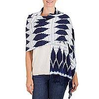 Rayon shawl, 'Clouds at Night' - Hand Woven Navy and White Rayon Shawl from Guatemala