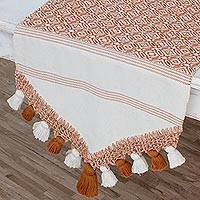 Cotton table runner, 'Hopeful Patterns in Spice' - Handwoven Cotton Table Runner in Spice from Guatemala