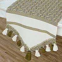 Cotton table runner, 'Hopeful Patterns in Olive' - Handwoven Cotton Table Runner in Olive from Guatemala