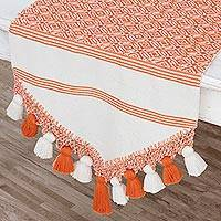 Cotton table runner, 'Hopeful Patterns in Carrot' - Handwoven Cotton Table Runner in Carrot from Guatemala