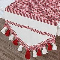 Cotton table runner, 'Hopeful Patterns in Crimson' - Handwoven Cotton Table Runner in Crimson from Guatemala