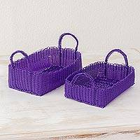Recycled plastic baskets, 'Home Warmth in Blue-Violet' (pair) - Two Recycled Plastic Baskets in Blue-Violet from Guatemala