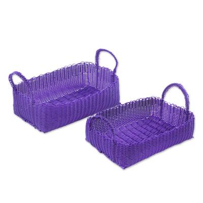 Two Recycled Handwoven Baskets in Blue-Violet from Guatemala