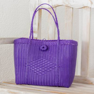 Recycled plastic tote, 'Undeniable Beauty in Purple' - Handwoven Recycled Plastic Tote in Purple from Guatemala