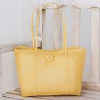 Recycled plastic tote handbag, 'Sunny Morning' - Buff Recycled Plastic Tote Handbag from Guatemala