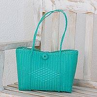 Recycled plastic tote handbag, 'Bright Morning' - Cerulean Recycled Plastic Tote Handbag from Guatemala