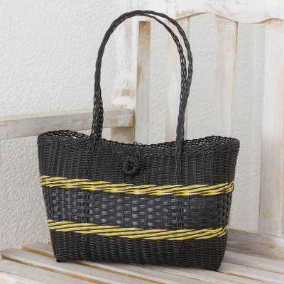 Recycled plastic tote, 'Walk in the Park' - Handcrafted Recycled Plastic Tote from Gautemala
