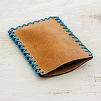 Leather card case, 'Smooth Sepia' - Handcrafted Sepia-Colored Leather Card Case from Guatemala