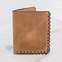 Leather wallet, 'Desert Traveler' - Handcrafted Leather Bifold Wallet in Sepia from Guatemala