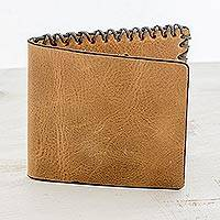 Leather wallet, 'Form and Style' - Leather Flap Wallet in Burnt Sienna from Guatemala