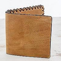 Leather wallet, 'Coffee Farm' - Handcrafted Leather Flap Wallet in Sepia from Guatemala