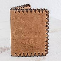 Leather wallet, 'Handsome Style' - Artisan Crafted Bifold Wallet in Sepia from Guatemala