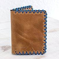 Leather wallet, 'Stylish Serenity' - Artisan Handcrafted Bifold Wallet from Guatemala