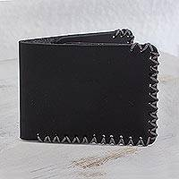 Leather wallet, 'Elegant Panther' - Dark Bifold Wallet Handcrafted of Leather from Guatemala