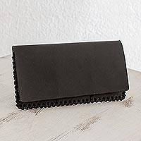 Leather wallet, 'Beautiful Black' - Handcrafted Leather Clutch Wallet in Black from Guatemala