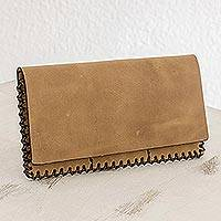 Leather wallet, 'Cappuccino Style' - Leather Clutch Wallet in Burnt Sienna from Guatemala