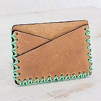 Leather card holder wallet, 'Subtle Style' - Slim Leather Card Holder in Burnt Sienna from Guatemala