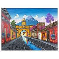 'Santa Catalina Arch' - Signed Naif Painting of a Volcano Town from Guatemala