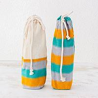 Cotton wine bags, 'Beach Afternoon' (pair) - 2 Handwoven Multicolored Cotton Wine Bags from Guatemala