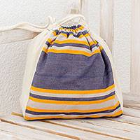 Multi-purpose cotton tote, 'Pleasant Day' - Handwoven Multi-Purpose Cotton Tote in Indigo from Guatemala