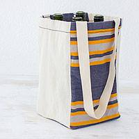 Cotton wine tote, 'Pleasant Day' - Handwoven Cotton Wine Tote in Indigo from Guatemala