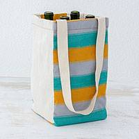 Cotton wine tote, 'Beach Afternoon' (4) - Handwoven Multicolored Cotton Wine Tote from Guatemala