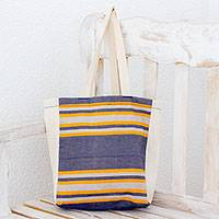 Cotton tote, 'Pleasant Day' - Handwoven Striped Cotton Tote in Indigo from Guatemala