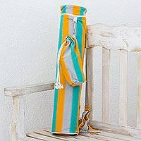 Cotton yoga mat bag and bottle holder, 'Relaxing Beach' - Striped Cotton Yoga Mat Bag and Bottle Holder from Guatemala