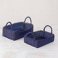 Handwoven baskets, 'Home Warmth in Navy' (pair) - Pair of Handwoven Navy Baskets from Guatemala