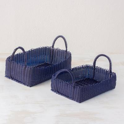 Recycled plastic baskets, 'Home Warmth in Navy' (pair) - Pair of Recycled Navy Plastic Baskets from Guatemala