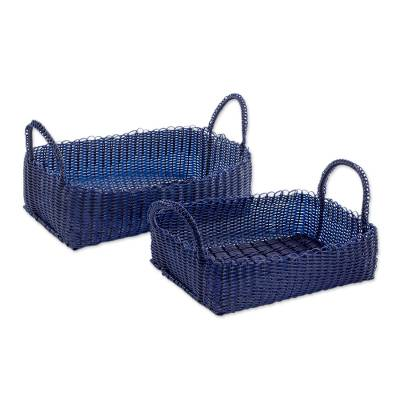 Pair of Handwoven Navy Baskets from Guatemala