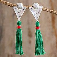 Sterling silver dangle earrings, 'Free Flight' - Sterling Silver and Cotton Dangle Earrings form Guatemala