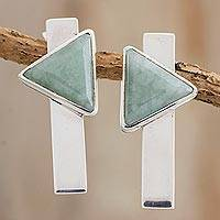 Jade drop earrings, 'Nature and Art' - Modern Light Green Jade Drop Earrings from Guatemala