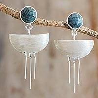 Jade dangle earrings, 'Maya Tears' - Jade and Sterling Silver Dangle Earrings form Guatemala