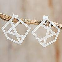 Sterling silver drop earrings, 'Geometry Beauty' - Geometric Sterling Silver Drop Earrings from Guatemala