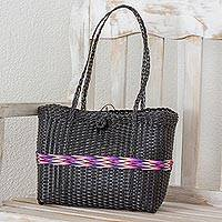 Recycled plastic tote, 'Walk in the Country' - Recycled Plastic Tote with Rainbow Stripe from Guatemala