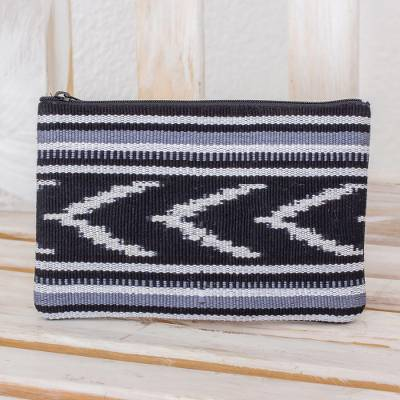 Cotton coin purse, 'Jaspe Mountains' - Handwoven Patterned Cotton Coin Purse Handbag from Guatemala