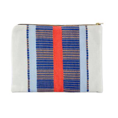 Handwoven Striped Cotton Cosmetic Bag from Guatemala
