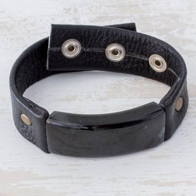 Jade and leather wristband bracelet, 'Black Fortress' - Jade and Leather Wristband Bracelet from Guatemala