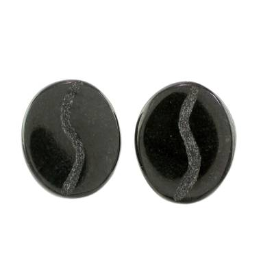 Jade stud earrings, 'Passion for Coffee in Black' - Coffee-Shaped Black Jade Stud Earrings from Guatemala